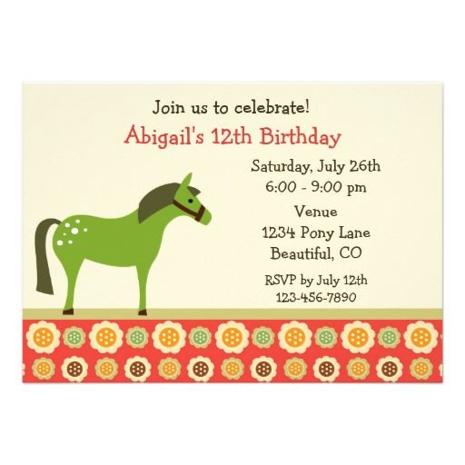 Pony and Flowers Birthday Invitation for Girls