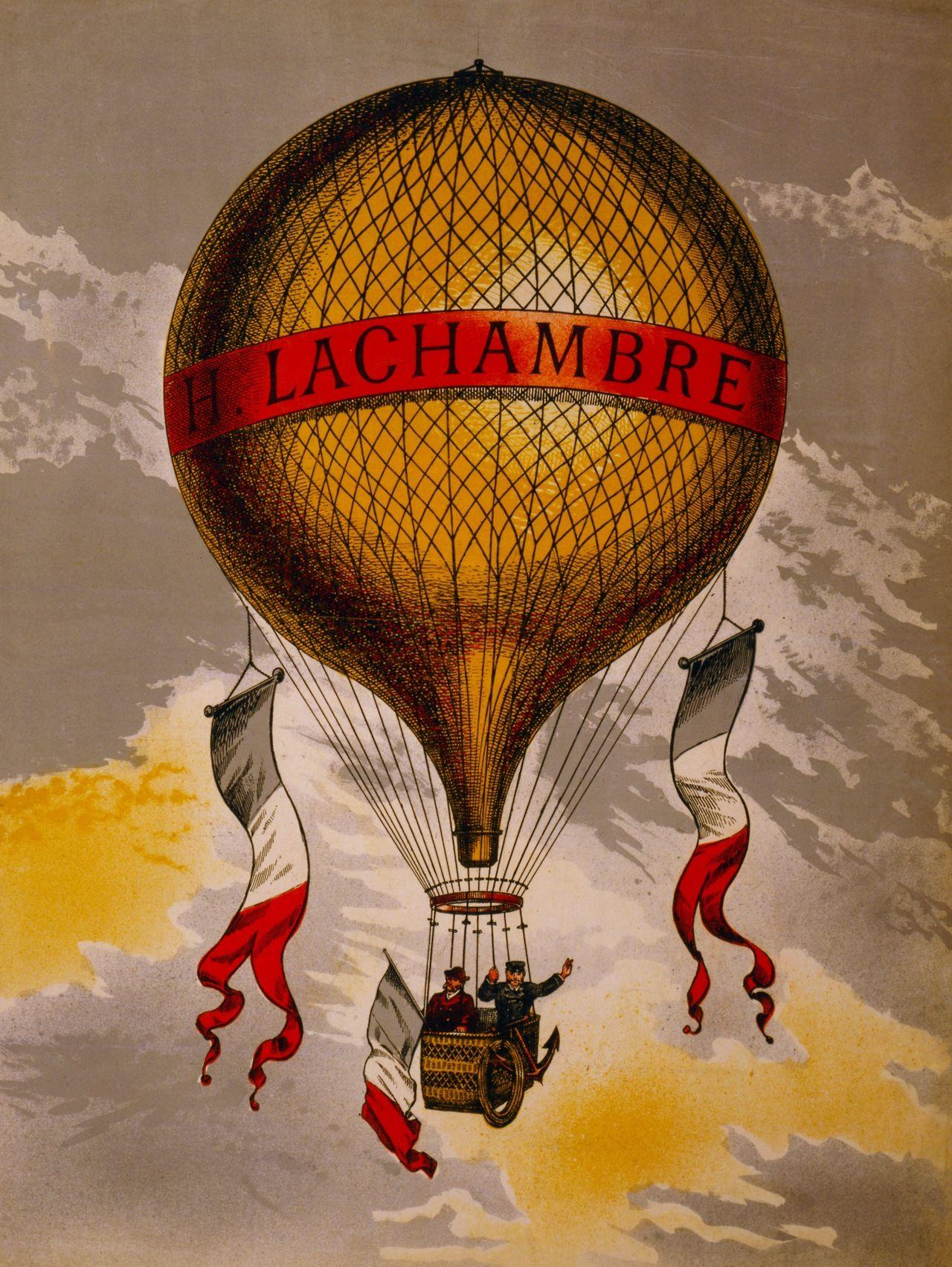 Henri Lachambre\'s Hot Air Balloon (color lithograph), Paris, France ...