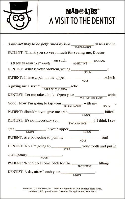 a visit to the dentist | MadLibs | Pinterest