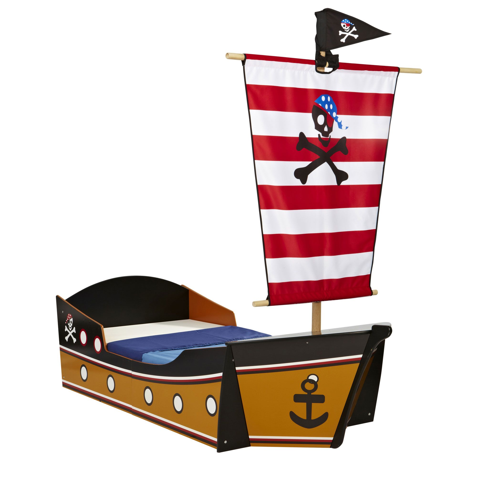 lit enfant en forme de bateau de pirate couchage 70x140 cm. Black Bedroom Furniture Sets. Home Design Ideas