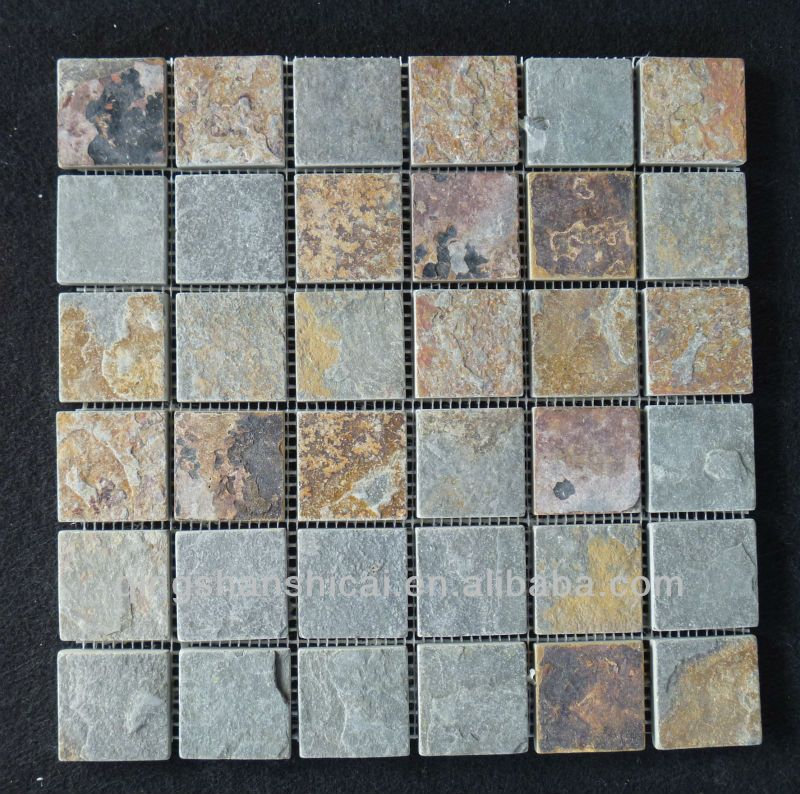 Rustic Slate Shower Floor Mesh Backed Mosaic Tiles - Buy Shower ...