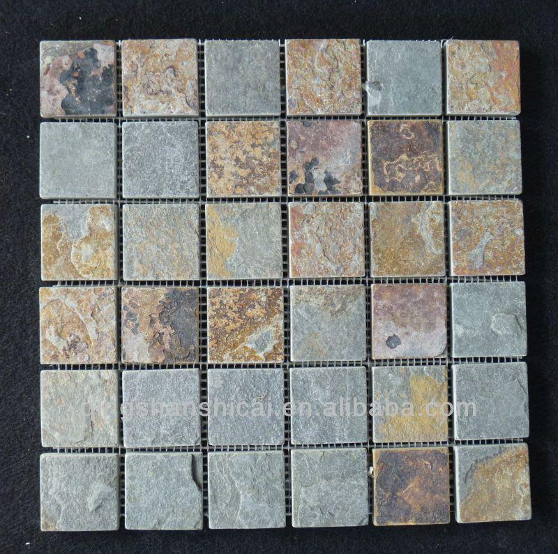 Rustic Slate Shower Floor Mesh Backed Mosaic Tiles Buy Shower Bathroom Flooring Bathroom Floor Tiles Slate Shower