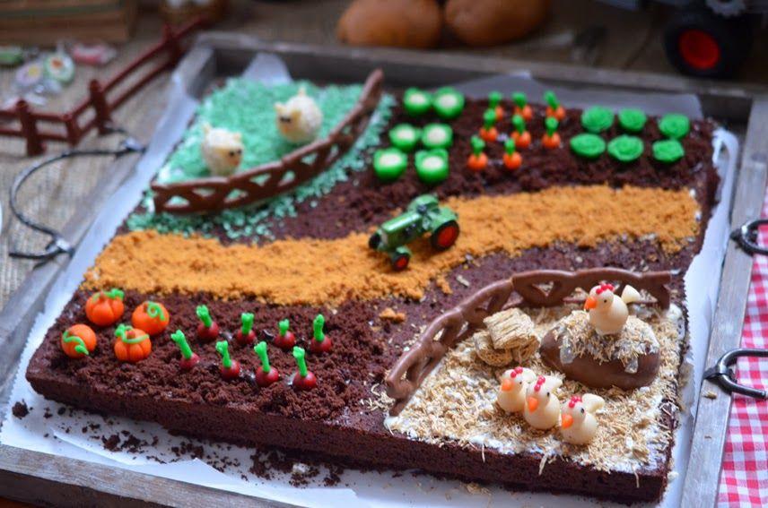 Schokoladiger Bauernhofkuchen Kuchen Kindergeburtstag Kindergeburtstag Essen Kuchen Kuchen Schoko