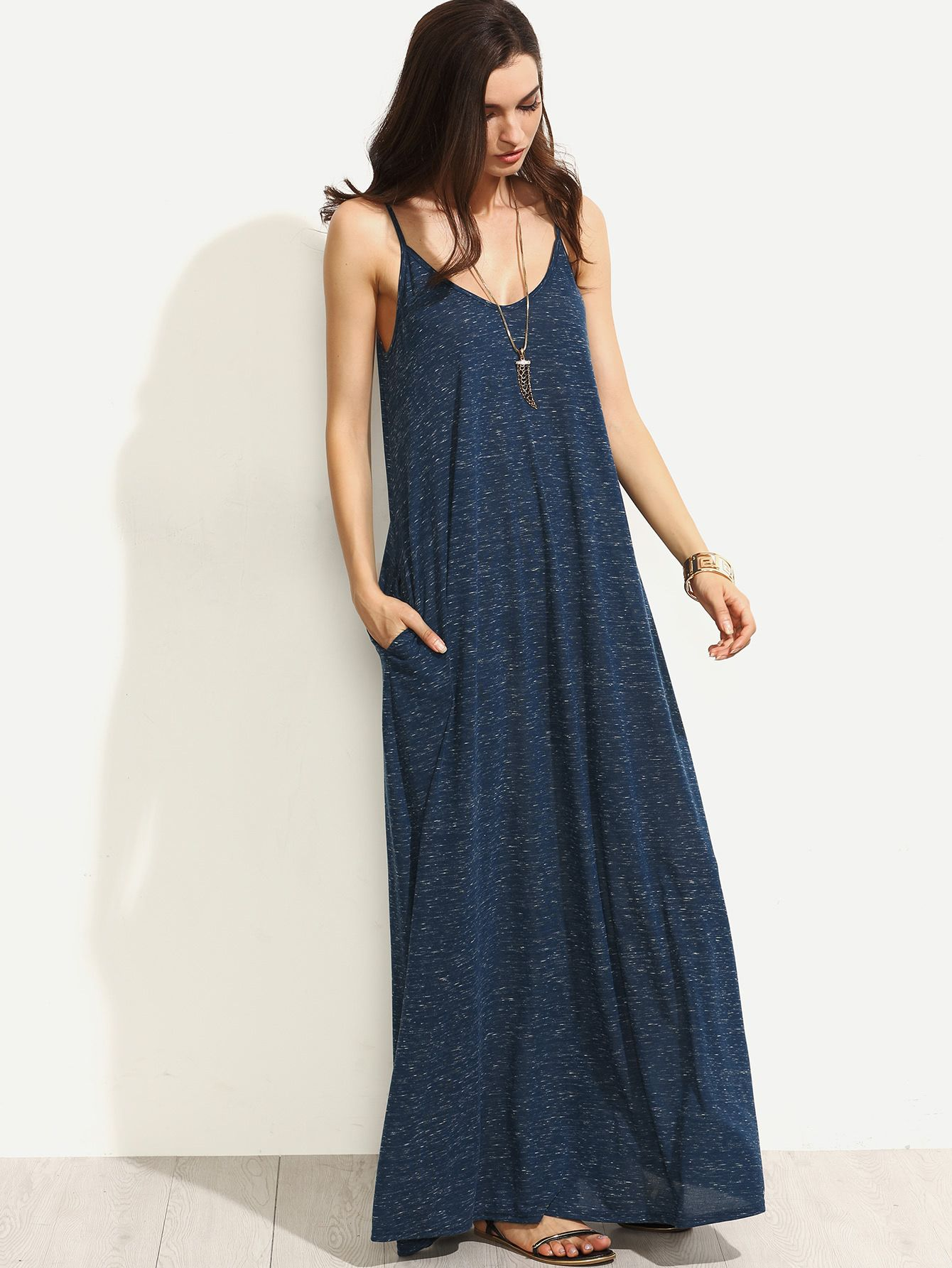 7d89fba4705 Shop Heather Navy Full Length Swing Dress online. SheIn offers Heather Navy Full  Length Swing Dress   more to fit your fashionable needs.