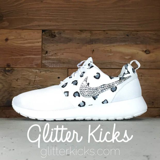 Black · Women's Nike Roshe One Print Casual Shoes By Glitter Kicks -  Customized With Swarovski Crystal Rhinestones