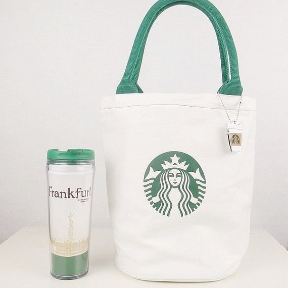 Natural Canvas Tote Bag Starbucks Printed By Beinspire On Etsy 20 00