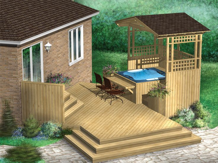 072X-0040: Multi-Level Hot Tub Deck Plan #hottubdeck