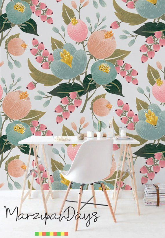 Pink Poppy Removable Wallpaper Floral Wall Mural Floral Art Etsy Vintage Floral Wallpapers Floral Wallpaper Floral Wall