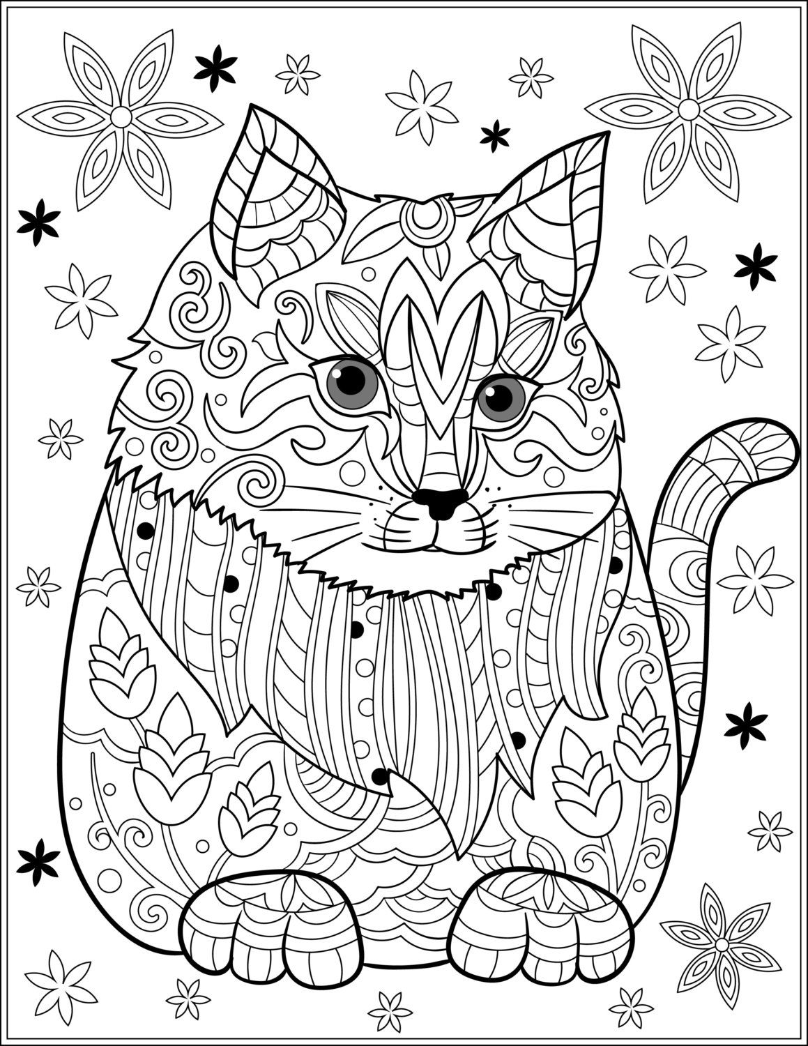 Stress relieving cats coloring - Cat Stress Relieving Designs Patterns Adult By Liltcoloringbooks