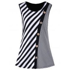 ea28df6930 Buy wholesale plus size button embellished striped tank top 3xl black white  for $10.92 from China plus size t-shirt wholesaler. Online christmas plus  size ...