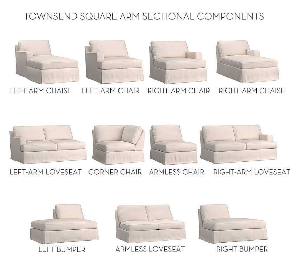 Build Your Own - Townsend Square Arm Slipcovered Sectional  Love