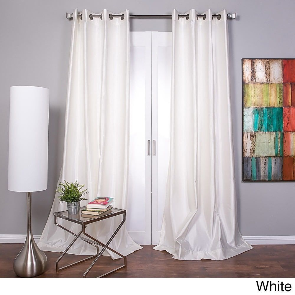 Mia Faux Silk Curtain Panel 108 White Size 54 X