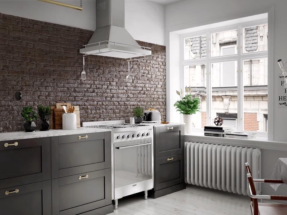 Faux brick wall panels used in a kitchen project home - Fake brick wall covering interior ...