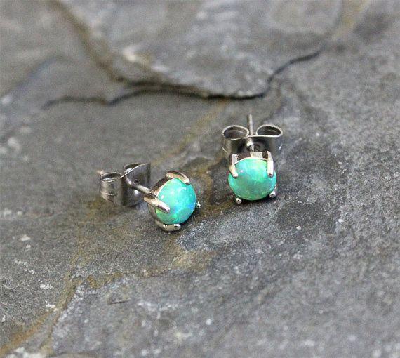 Fire Opal studs Earrings Green Opal with 316L by Purityjewel