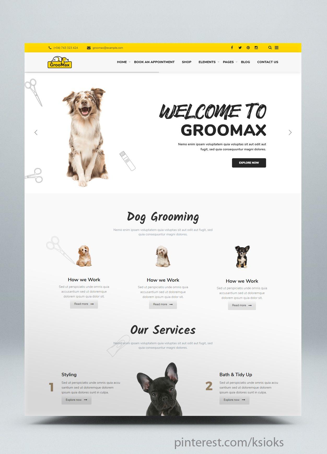 Pet Grooming Shop Wordpress Theme Pet Grooming Shop Food Web Design Pet Websites
