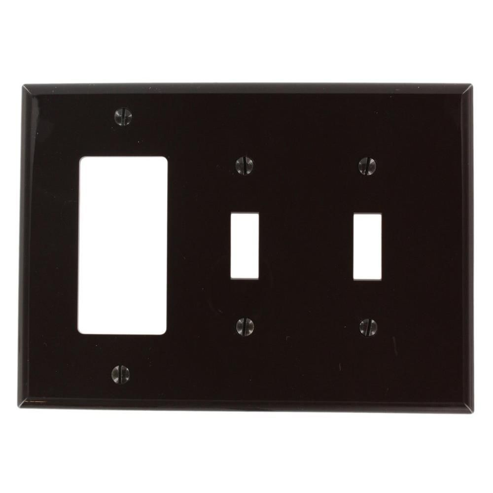 Leviton 2-Gang Midway Size 2-Toggles 1-Decora Nylon Combination Wallplate in Brown