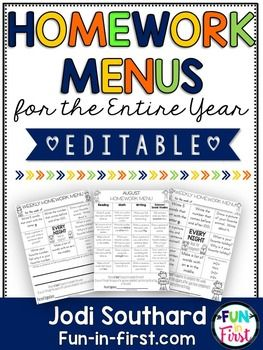 Homework Menus For The Entire Year Editable St Grade  Homework