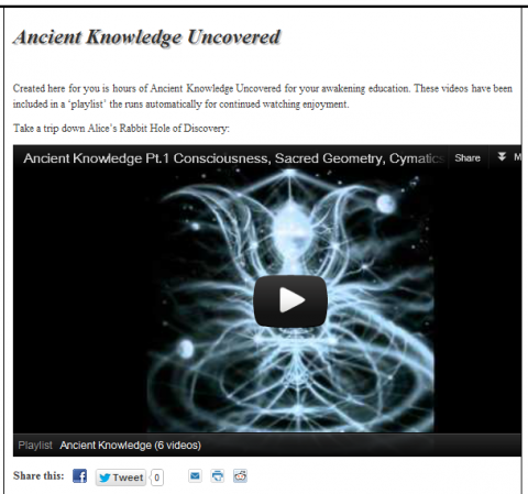 Ancient Knowledge Uncovered video playlist of hours of fascinating unveiling, enjoy.
