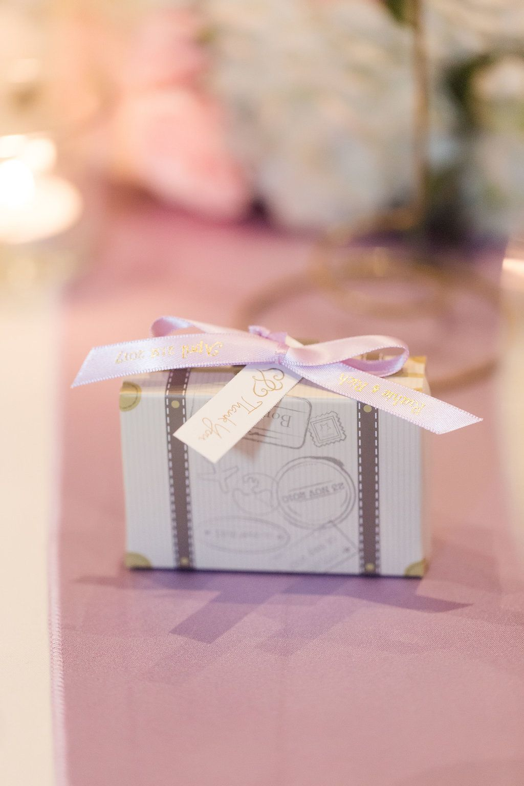 White luggage favors for travel themed wedding with light purple ...