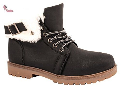 Bottes Eu Noir Elara 37 Femme Chaussures Schwarz Motardes dHHAU