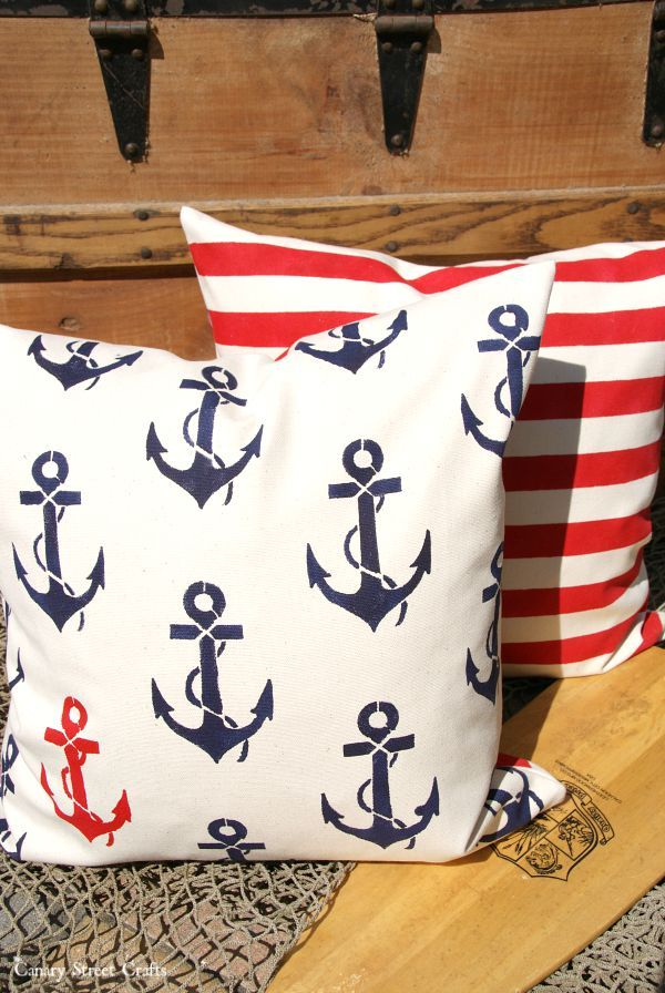 Nautical Decor Stenciled Pillows Crafts Stenciled Pillows