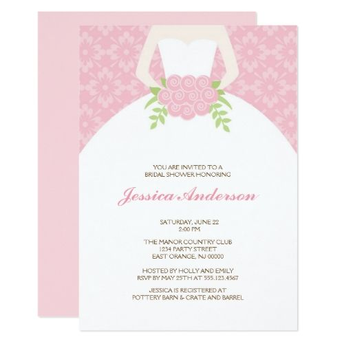 Pink Damask Pattern Bridal Shower Card
