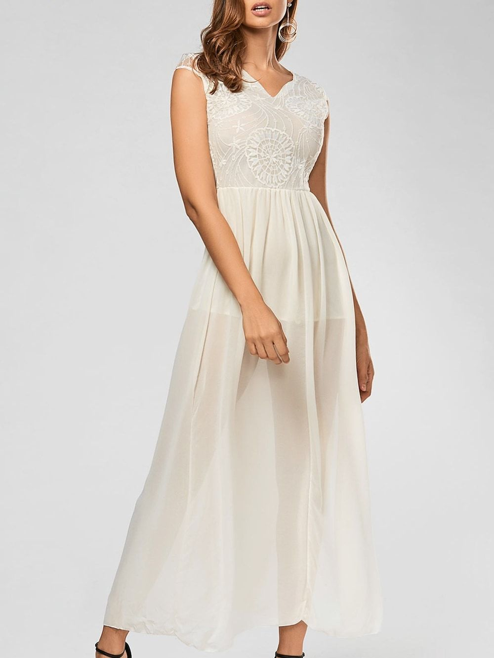 238694a9dfbe Elegant Women's Plunging Neck Sleeveless Lace Splicing Slit Long Dress -  OFF WHITE XL