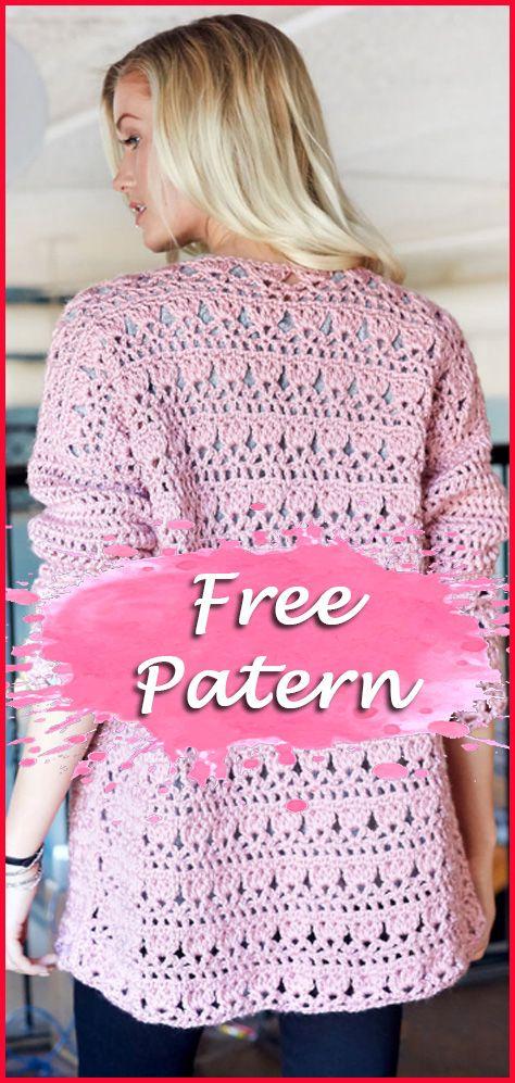 11 Cardigan Crochet Free Pattern Women #crochetsweaterpatternwomen
