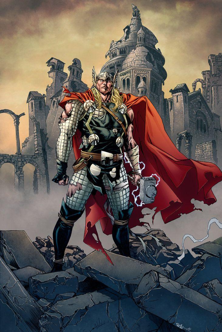 Thor Fan Art. (Thor in Fallen Asgard) By MarkHRoberts