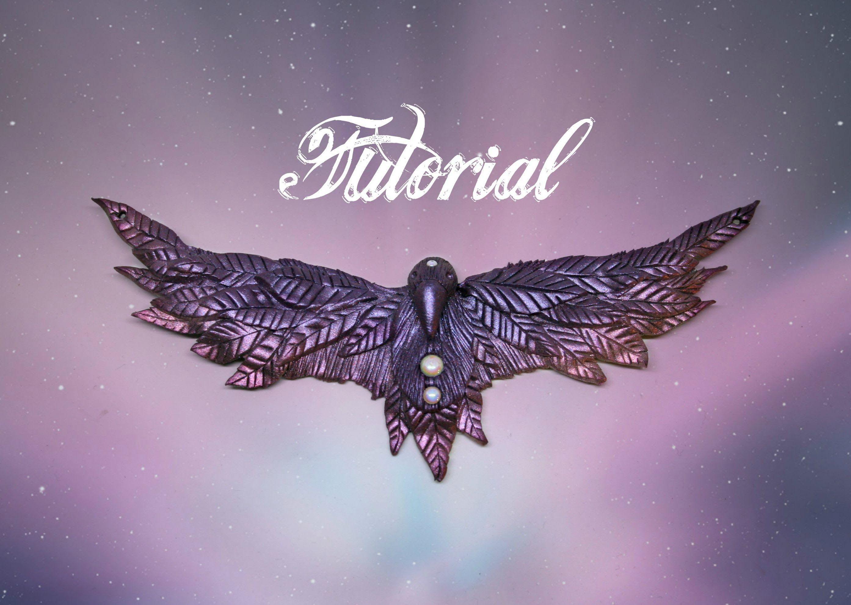 Fantasy Raven Polymer Clay Tutorial | Purple & Pink Mica Powder DIY Necklace | Velvetorium