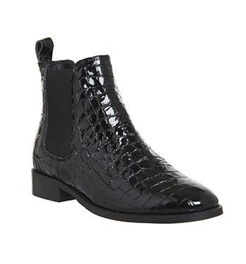 Office Cockney High Cut Chelsea Womens Ankle Boots Black Croc Embossed Leather Online
