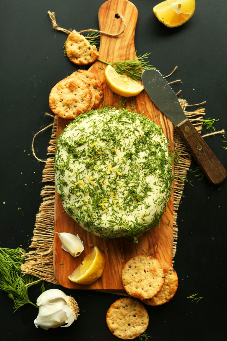 EASY, Creamy VEGAN CHEESE! Infused with lemon zest, garlic, and dill. So creamy, savory, and cheesy