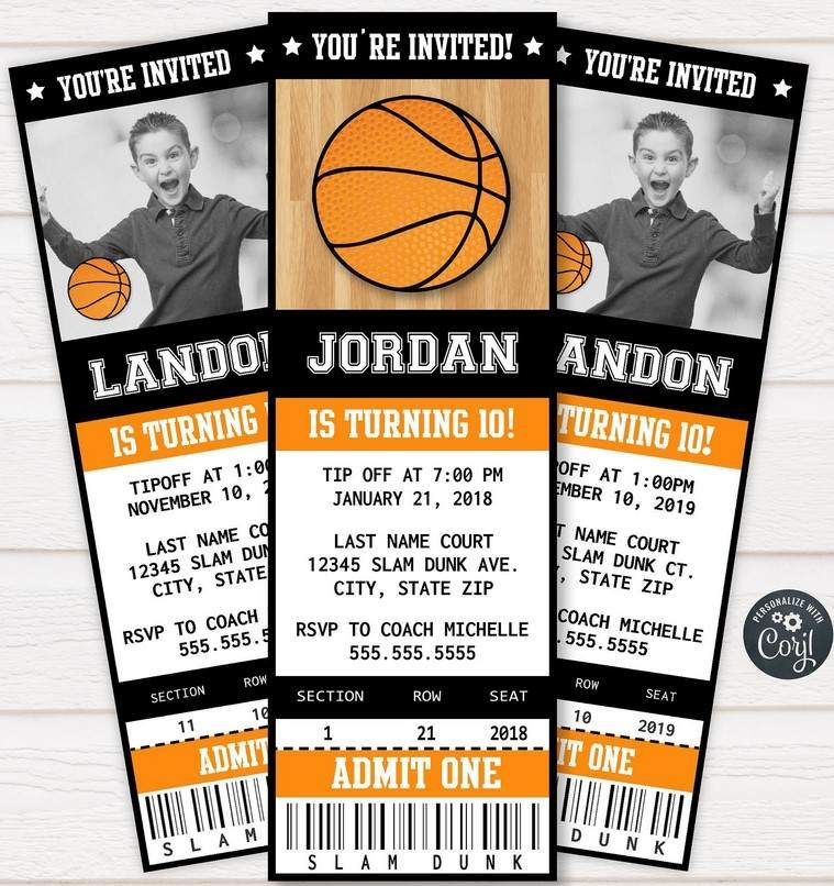 Free Printable Basketball Ticket Invitation Template Basketball Birthday Invitations Free Ticket Invitation Birthday Basketball Birthday Invitations