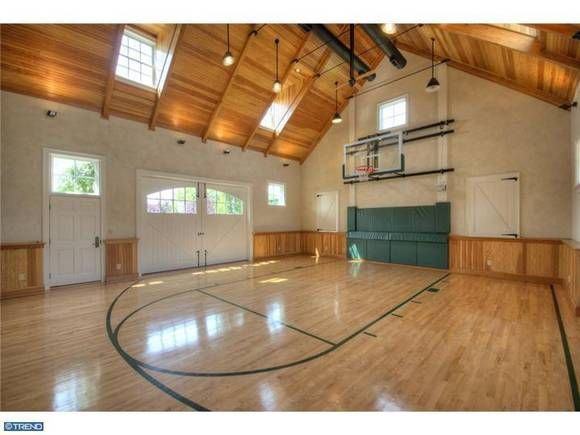 16 Homes With Basketball Courts You Can Buy Now Home Basketball Court Basketball Court Indoor Basketball Court