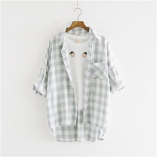 Buy Storyland Check Dip-Back Blouse at YesStyle.com! Quality products at remarkable prices. FREE WORLDWIDE SHIPPING on orders over CA$ 45.