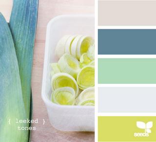 Light gray, dusty blue, sea foam green, egg shell and citrus green.