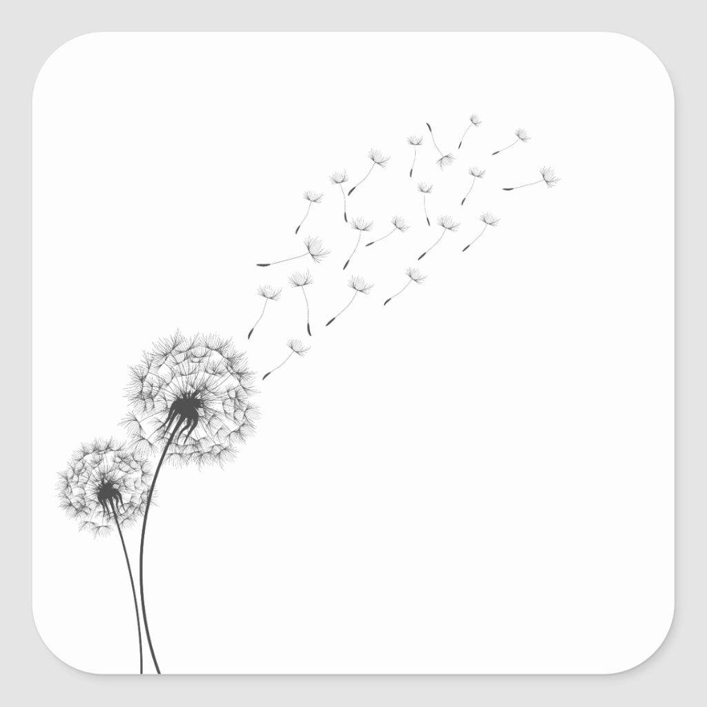 Simple Minimalist Blowing Dandelion Sticker Zazzle Com In 2020 Blowing Dandelion Dandelion Tattoo Design Dandelion Tattoo