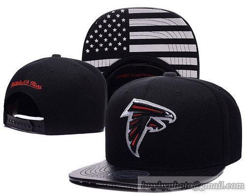 Atlanta Falcons Black Snapback Hats Brim Leather Under Flag Logo Black Snapback Hats Black Snapback Hats For Men