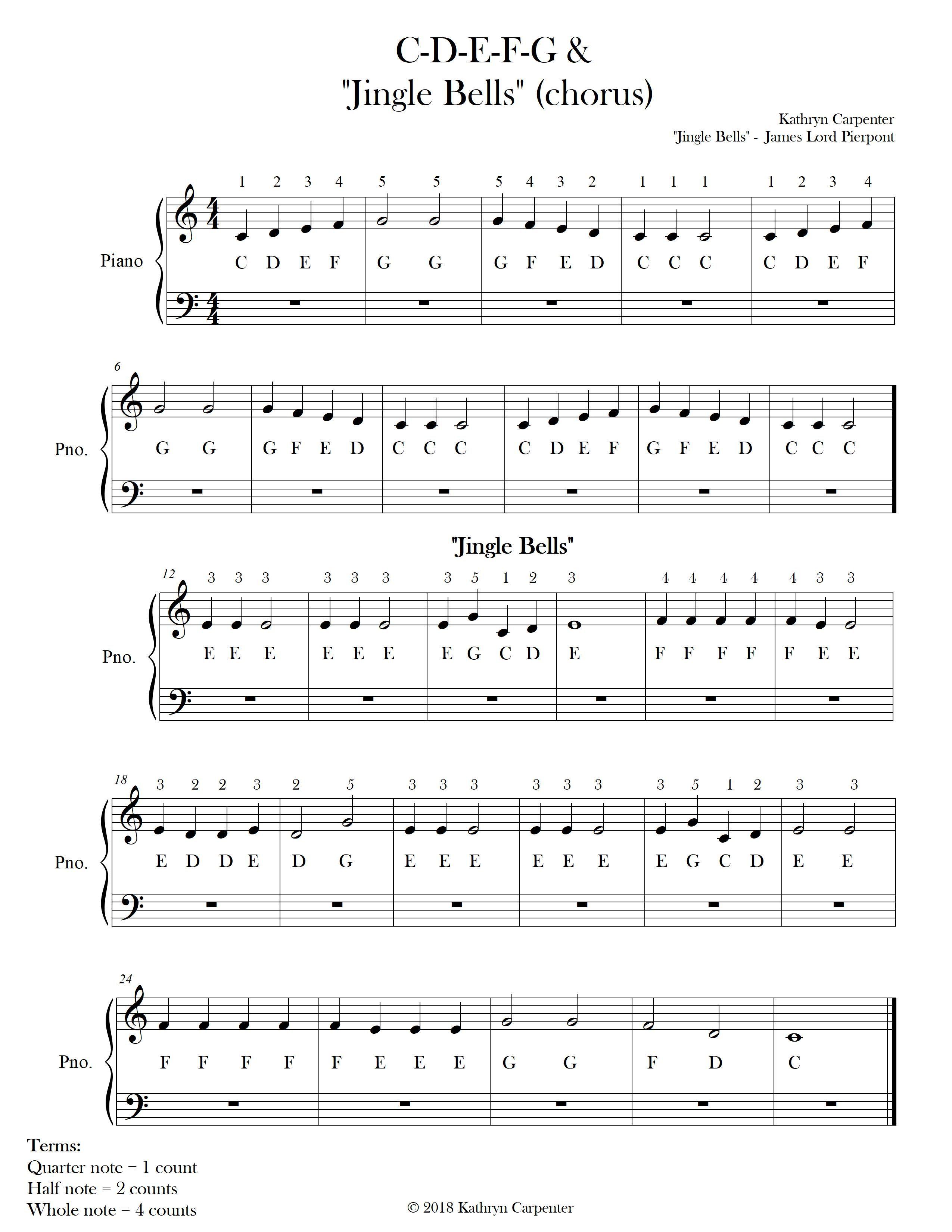 C D E F G Jingle Bells Free Copy Sheet Music Free Sheet Music Christmas Music