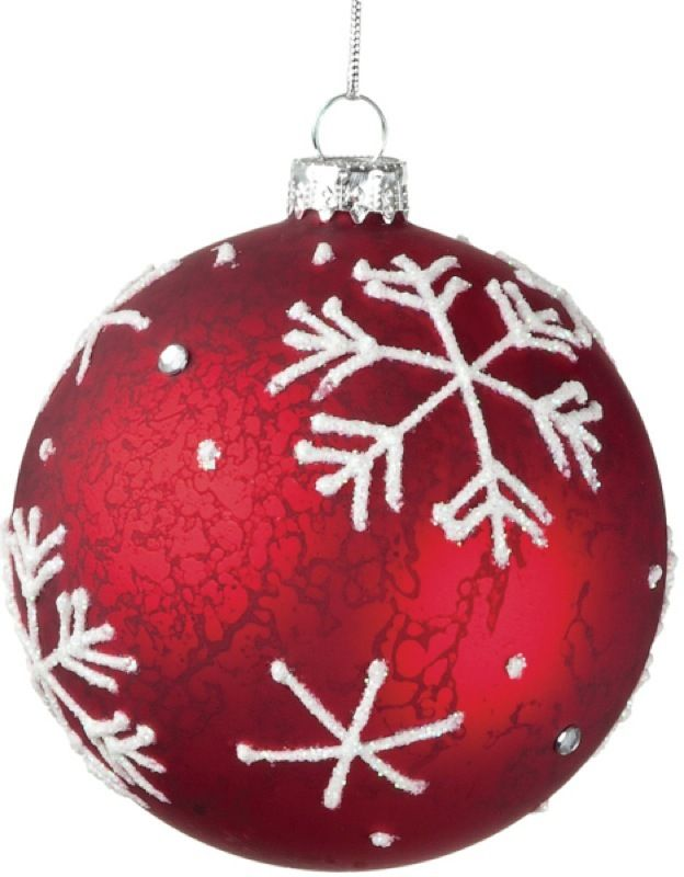 Antique Red White Glitter Snowflake Glass Ball Christmas Ornament Christmas Ornaments White Ornaments Christmas