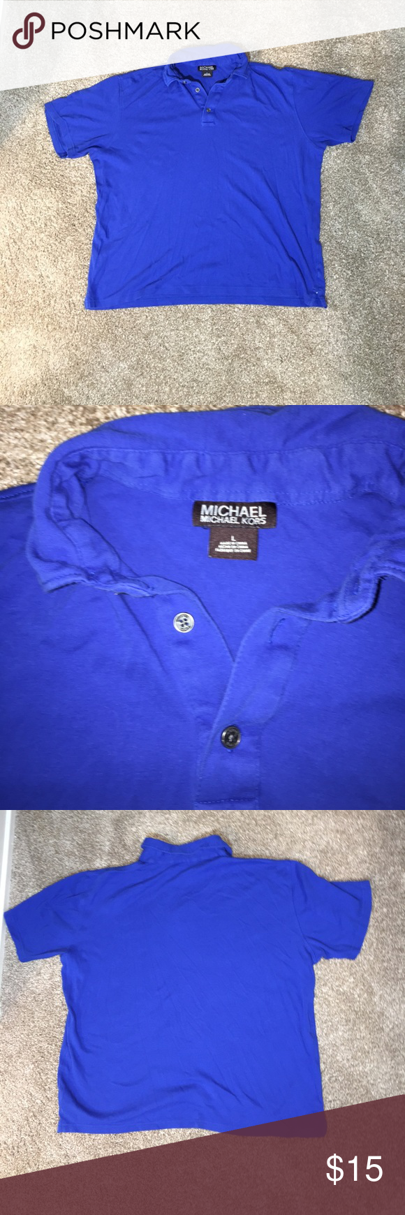 MICHAEL Michael Kors Blue Polo MICHAEL Michael Kors blue polo size L. Condition 8/10. MICHAEL Michael Kors Shirts Polos