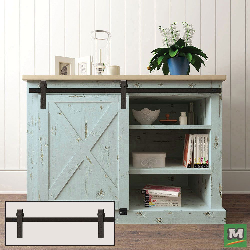 Get Creative With This 36 Mini Barn Rail It S Perfect For Concealing Clutter On Shelves Adding An Accent To Barn Door Cabinet Wooden Cabinets Diy Cupboards