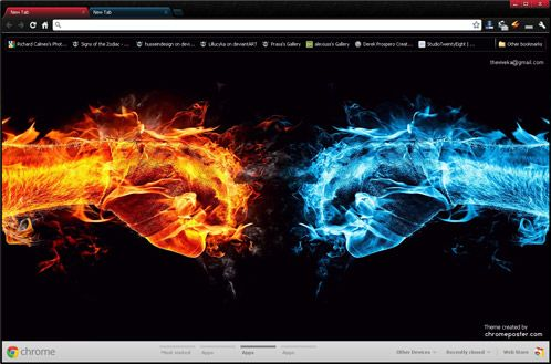 Fire And Ice Google Chrome Theme Fire Art Cool Desktop