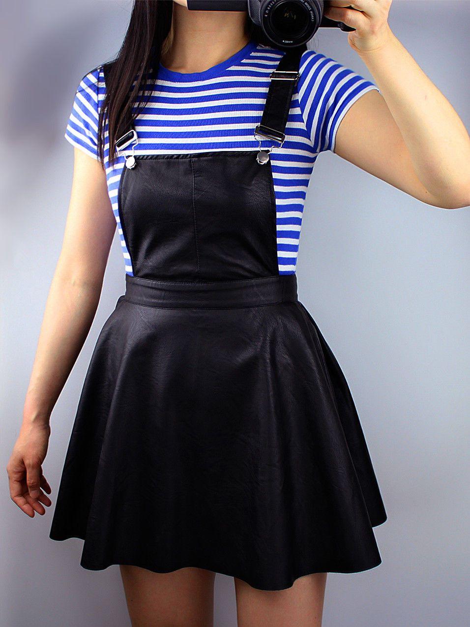 982c0fa7b1 Flippy Skater Skirt Leather Black Short Mini Aline Pinafore Dress Overalls  Strap