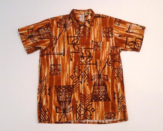 65a28e32 Hawaiian Shirt by Double 77 Smart Wear 1950s 1960s Vintage Tapa Tribal  Print Aloha Shirt Brown Tropi