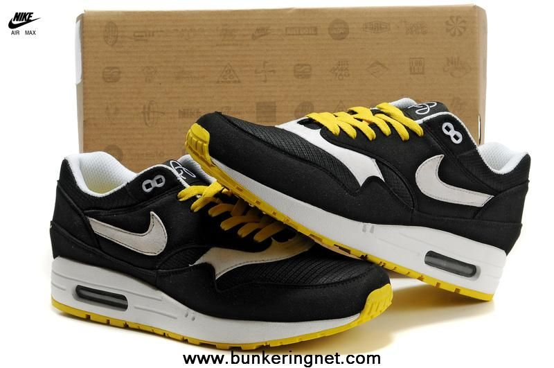 New Black White Yellow Nike Air Max 87 Men Shoes