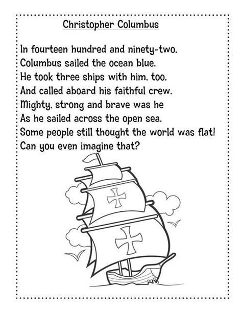 Columbus Day Activities Free Christopher Columbus Poem First Grade Phonics Kindergarten Social Studies Christopher Columbus