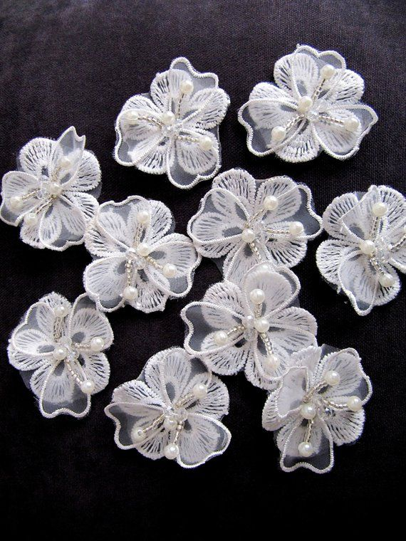 7789ca971 10 Pcs offWhite Lace Flowers