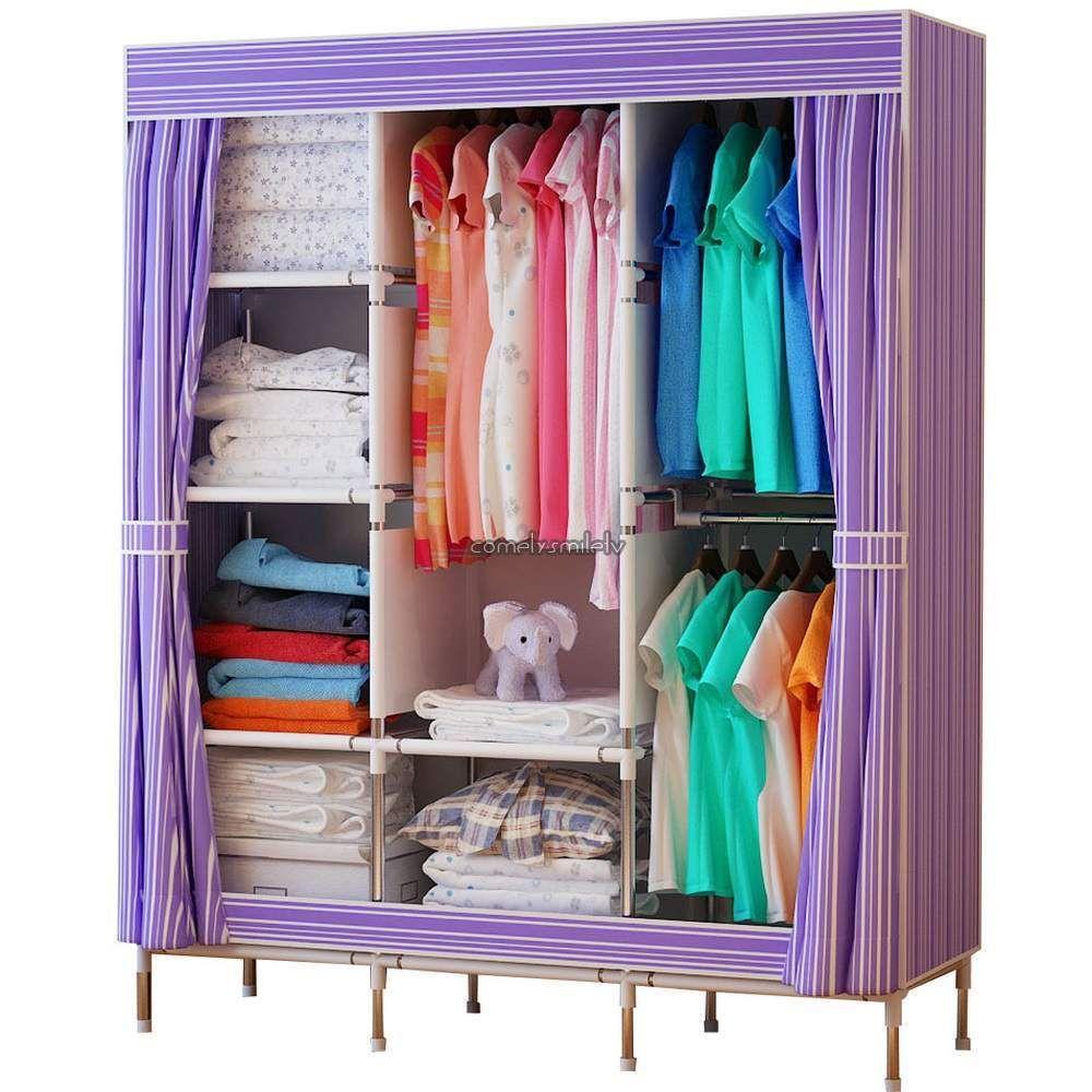 68 Portable Closet Organizer Wardrobe Clothes Garment Rack Hanger