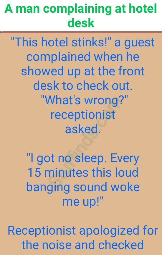 A man complaining at hotel desk